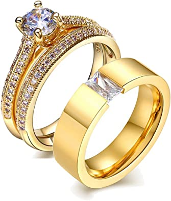His And Hers Wedding Ring Sets Couples Rings 10k Yellow Gold Filled Cz Wedding Engagement Ring Bridal Sets Men S Stainless Steel Wedding Band Amazon Com