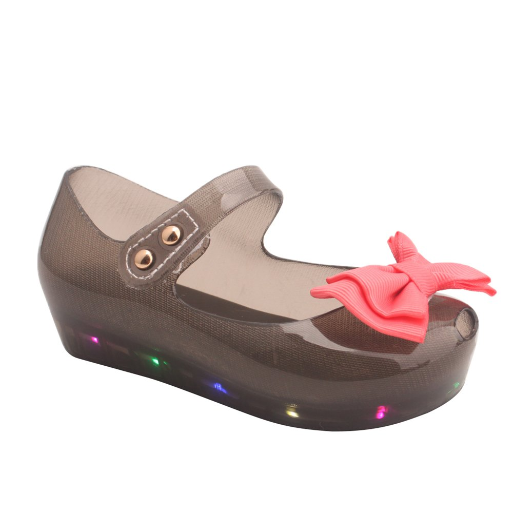 Omgard Kids Summer Cute Ribbon Bow Princess Sandals Jelly Shoes Kid Girl Gift Toddler Color Black Size 5.5