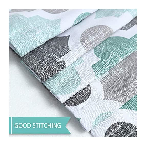 """Haperlare Fabric Shower Curtain, Aqua Polyester Cotton Blend Fabric for Bathroom Showers and Bathtubs, Geometric Pattern Heavy Textured Fabric Shower Curtain for Bathroom, 72"""" x 72"""", Gray/Aqua - QUALITY MATERIAL: Our shower curtain with soft hand feel is made ofa 75% polyester/25% cotton blend fabric, odorless, eco-friendly and durable, thick material. Instantly upgrades any bath to create a relaxing spa-like environment. BATHROOM DECORATIONS: The fabric shower curtain provides perfect privacy and decorative appeal. Inspired by the feeling of stylish and elegant, the quatrefoil geometric pattern shower curtain can also instantly update any bathroom decor theme. SERVE WELL: Bold graphics printedadds real value and depth to your decor. This unique & modern designs match well with various color palettes of towels, rugs, bathroom mats and any other bathroom accessories. Not waterproof, use of liner recommended for added protection. - shower-curtains, bathroom-linens, bathroom - 61kH1nrwPfL. SS570  -"""