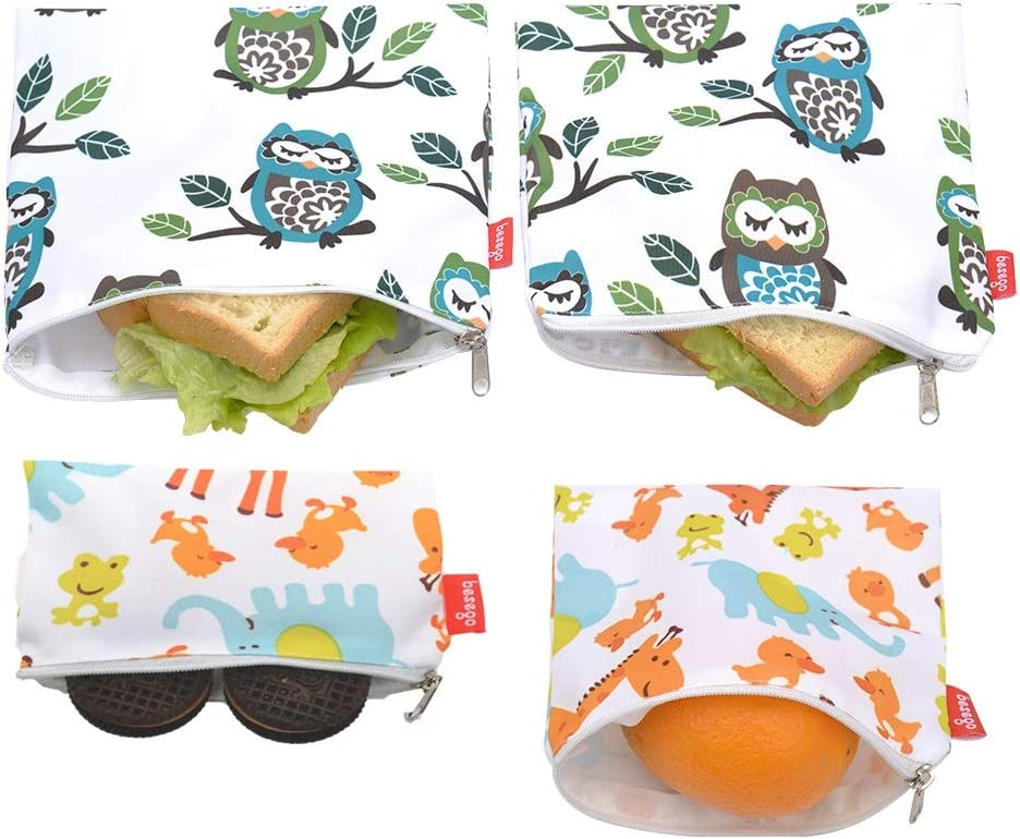 Reusable Sandwich Bags and Eco Friendly Kids Lunch Bags , snack Bags for Food Storage, Safe and Washable (Owl and Giraffe)