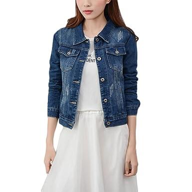 Wvsender Mode Beiläufig Damen Mantel Jacke Denim Jacket Trench Parka Jacken Einfarbig  Lange Ärmel Jeans-Jacke mit Patches  Amazon.de  Bekleidung b7caba1c22