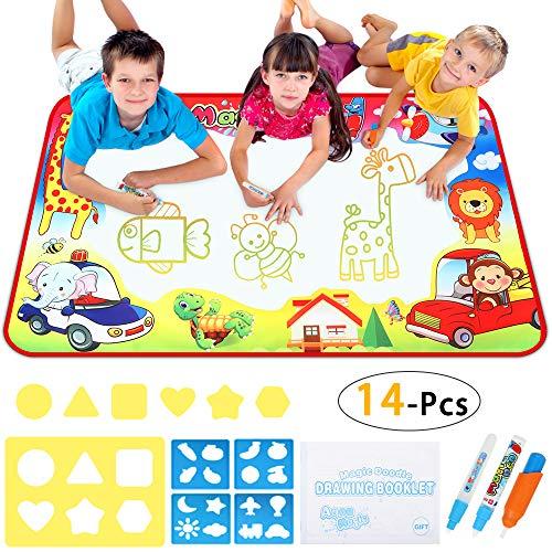 EocuSun Doodle Mat, Toddler Toys Large Aqua Doodle Mat, 7 Colored Water Drawing Mat with 3 Magic Pens and Drawing Molds, Magic Mat Educational Toys for Girls Boys Aged 2 3 4 5 6, 33.5 X 22