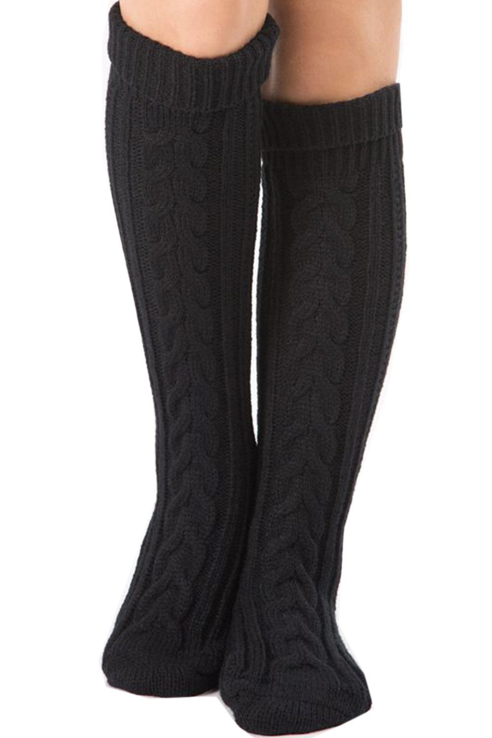 Womens Cable Knit Long Boot Socks Over Knee High Winter Leg Warmers