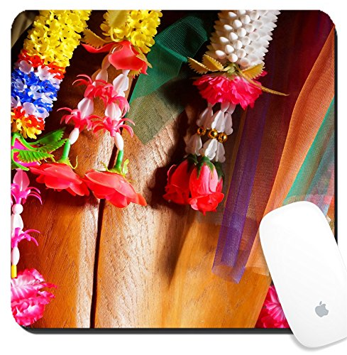 Luxlady Suqare Mousepad 8x8 Inch Mouse Pads/Mat design IMAGE ID: 33743522 Colorful Thai plastic garland can be found at any Buddhist (Temple Garland)