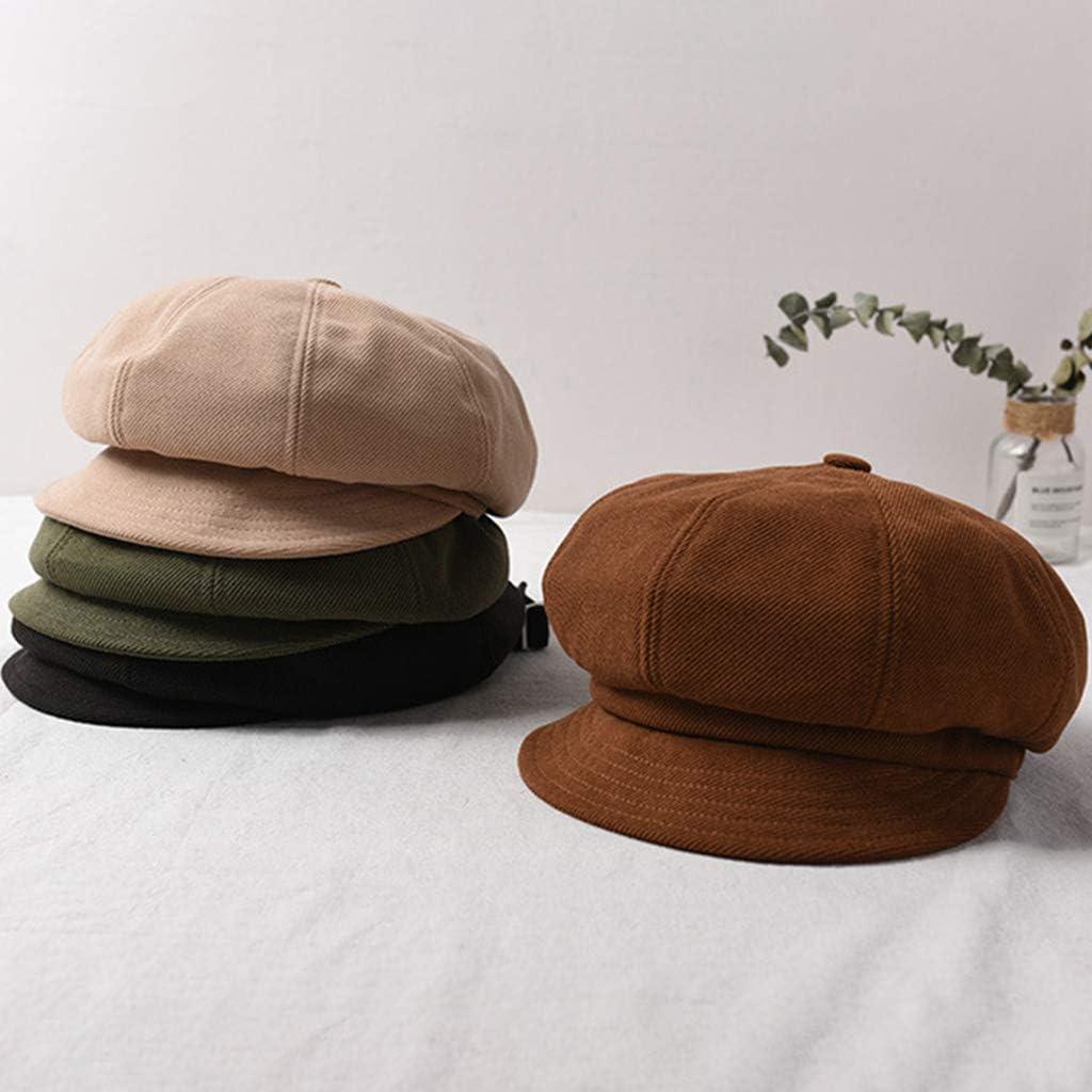 suoryisrty Baskenm/ütze Cap 1 St/ück Damen Herbst Vintage Baskenm/ütze Cap Short Krempe Visier Cabbie Newsboy achteckigen Hut gr/ün
