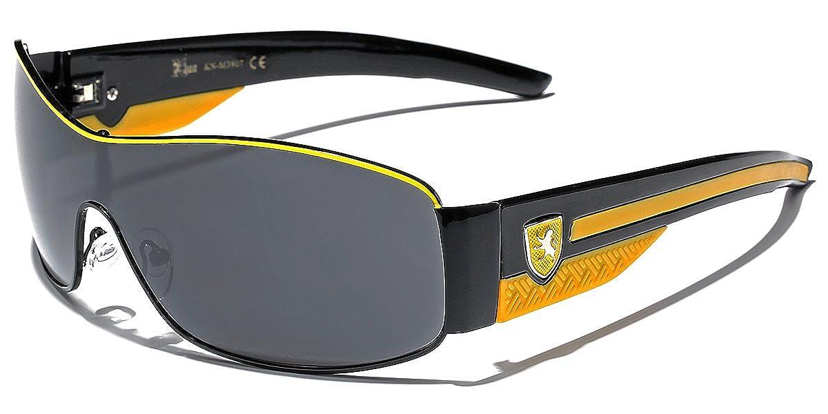 ca5040eebb1b Amazon.com  Khan Metal Wire Rim Frame Men s Sport Shield Sunglasses - Black    Yellow  Clothing