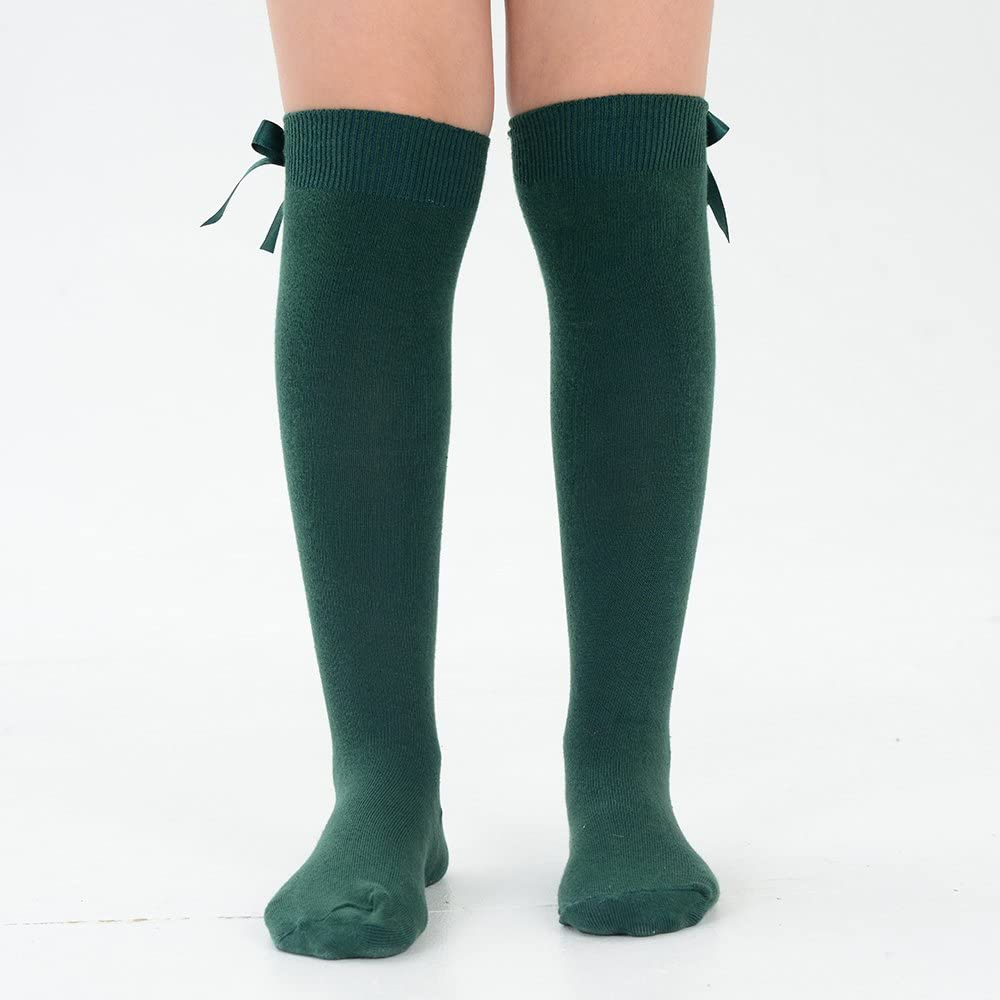 4 Pairs of Girls Knee High School Uniform Socks with Matching Silky Ribbon Bows