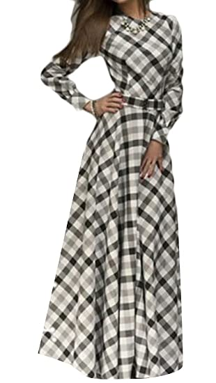 e72e6de861 Suncolor8 Women Plaid Retro Flare Casual Long Sleeve Evening Prom Party  Maxi Dress Gown 1 XXS
