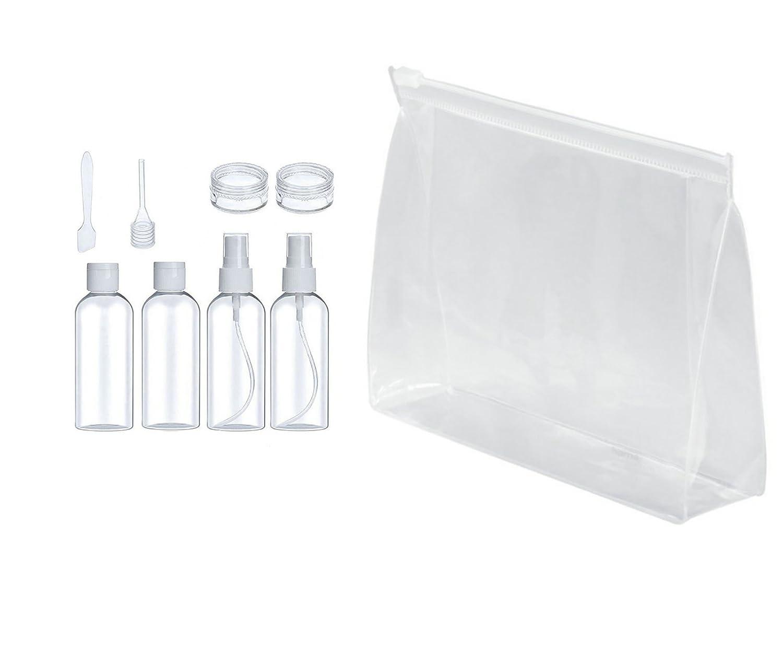 Set Bottiglie da Viaggio per Cosmetici - Busta da Viaggio Trasparente + 7 Pz Bottiglie da Viaggio (Max.50ml), Kit Liquidi Flaconi Accessori da viaggio per Shampoo / Lozioni / Creme (Trasparente) INTE