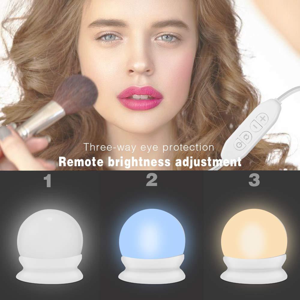 Luces de Espejo de Tocador Espejo,Ba/ño,Regalo para Fiesta,Cumplea/ños,Aficionados de Maquillarse Luces Espejo LED Estilo Hollywood con 10 Bombillas Regulables USB 3 Modos de Color Maquillaje,Tocador