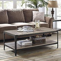 WE Furniture Angle Iron Rustic Wood Coffee Table - Driftwood