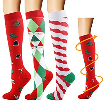 Travel Medical Pregnancy Athletic 1//4//6 Pairs Graduated Stockings Best for Running Compression Socks Women /& Men