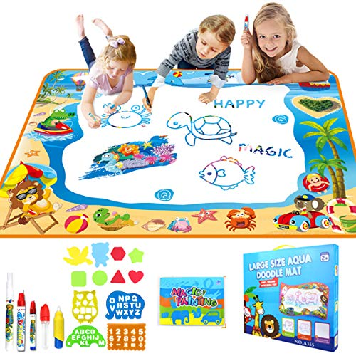 Hadskiss Aqua Magic Doodle Mat Toys for 2 3 4 Year Old Girls Boys Water Drawing Mat Gifts for Kids Toddler Large Size 39.5
