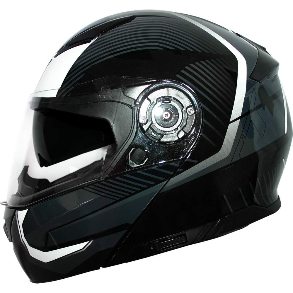 White M Leopard LEO-888 DVS Flip up Front Helmet Motorcycle Motorbike Helmet with DOUBLE SUN VISOR