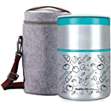 Lille Home 32OZ Vacuum Insulated Stackable Stainless Steel Thermal Lunch Box | 2-Tier Bento Box/Food Container with Insulated Lunch Bag | BPA Free | Leakproof | Adults, Kids