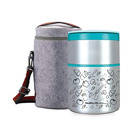 fc8fd3a446df Lille Home 32OZ Vacuum Insulated Stackable Stainless Steel Thermal Lunch  box | 2-Tier Bento box/Food Container with Insulated Lunch bag | BPA Free |  ...
