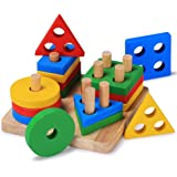Bettroom Wooden Educational Preschool Shape Color Recognition Geometric Board Block Stack Sort Chunky Puzzle Toddler toys for 1 2 3 4-5 6 year olds and Up Kid Children boys girls Baby