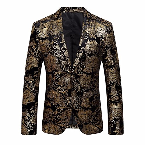 HHei_K Men's Floral Suit, Male Fashion Gold Notched Lapel Slim Fit Stylish Blazer Coat Jacket Outwear (M) - Embroidery Party Prom Jacket