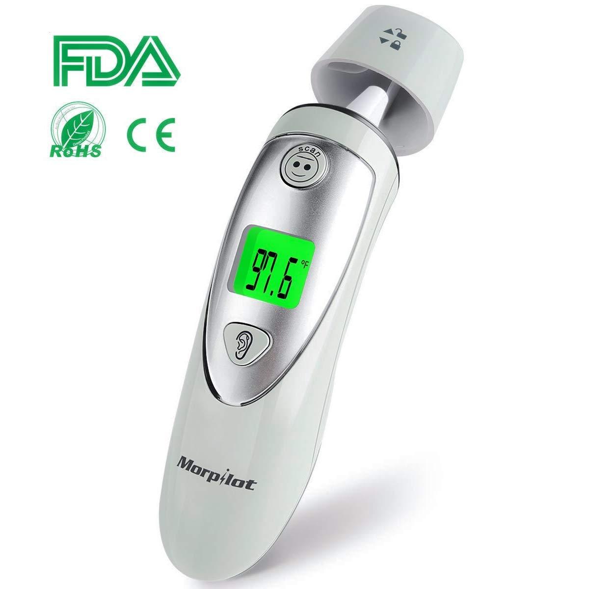 Thermomètre Auriculaire et Frontal, Morpilot Thermomètre infrarouge digital pour Bébé Enfant et Adulte - Une seconde de mesure précise, Avertissement de la fièvre, 20 Memoires de rappel 2051005-IR