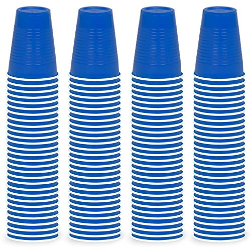 DecorRack 120 Party Cups, 12oz Reusable Disposable Soda Cups for Birthday Party, Bachelorette, Camping, Indoor Outdoor Events, Beverage Drinking Cups, Round -BPA Free- Plastic Cups, Blue (120 Pack)