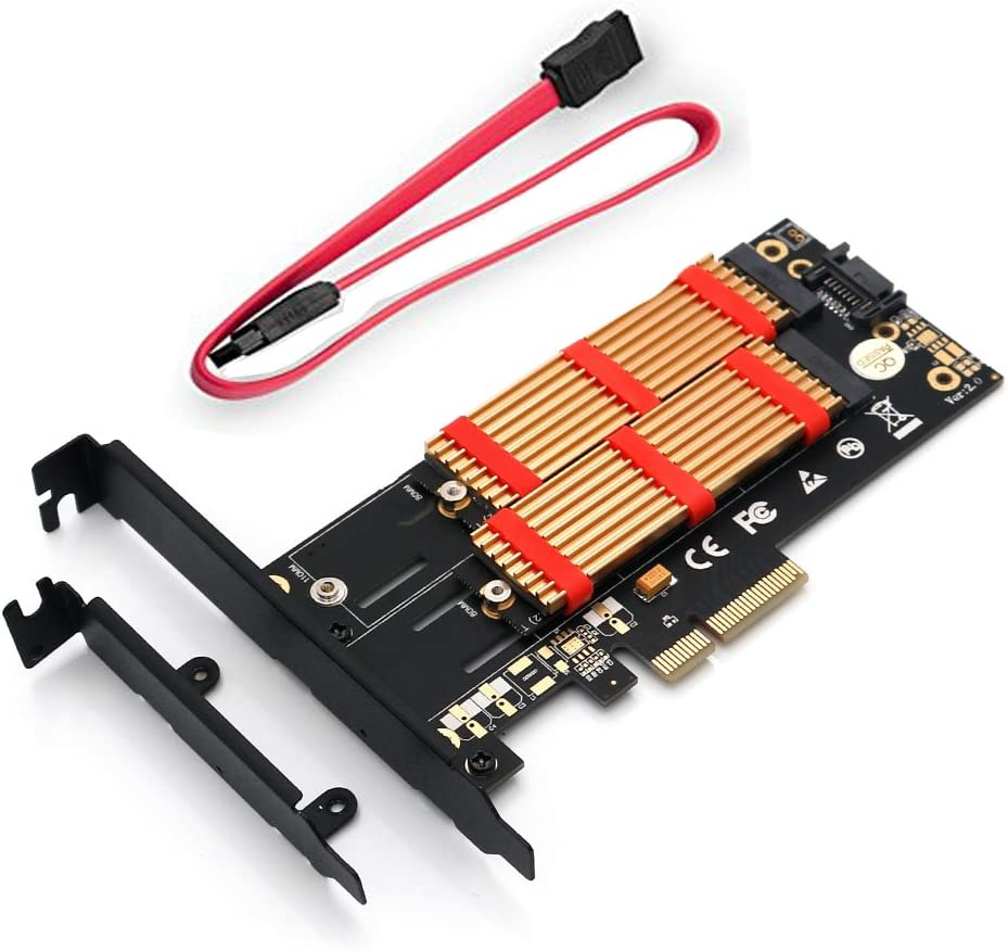 BGNing Dual M.2 SSD NVME (m Key) or SATA (b Key) to PCI-e 3.0 x 4 Host Controller Expansion Card with Low Profile Bracket and Heatsink for Desktop Suitable for M.2 Form Factors 2230, 2242, 2260,2280