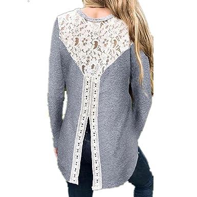 Longra Damen Bluse Festliche Blusen Elegante Blusen mit Spitze Damenmode  Kleidung Schöne Oberteile Spitze Tunika Hemdblusen 60571dde4a