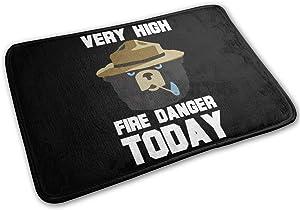 Shenghong Lin Smokey Bear 'Fire Danger Very High Today' Welcome Mat Rug Front Door Bathroom Indoor Outdoors Floor Mat Gate Pad Cover Doormat Bath Mat Carpet