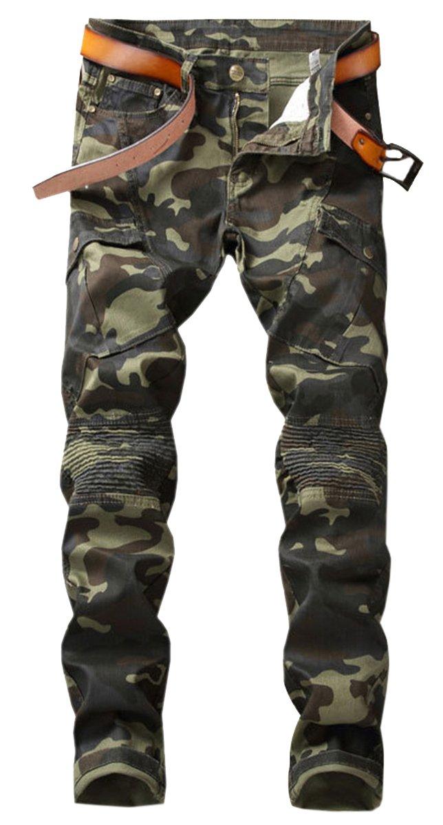 QZH.DUAO Men's Camo CAGO Moto Biker Denim Jeans Pants with Pocket, Camouflage, 38