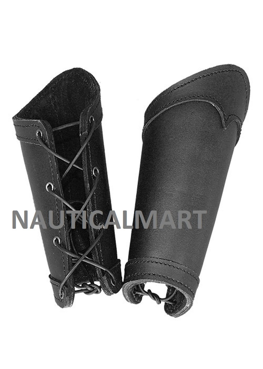 NAUTICALMART Pair of Leather Arm Rail Warrior Black Arm Guards LARP Medieval Battle Viking by NAUTICALMART