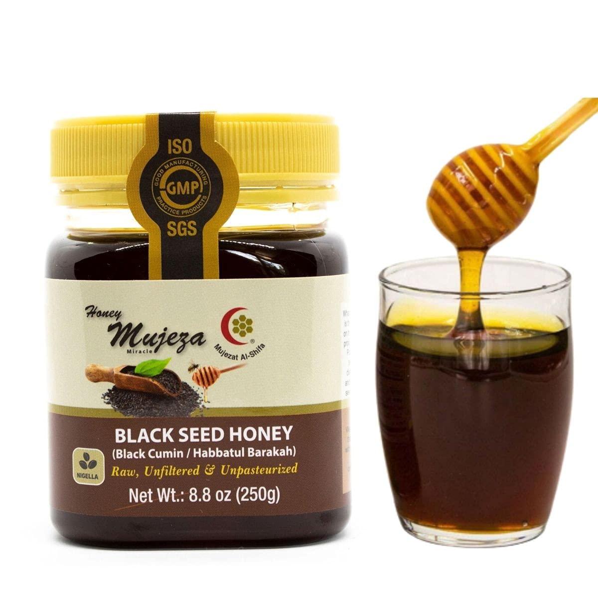 Mujeza Black Seed Honey - (Black cumin - nigella seeds) - Not Mixed with Oil or Powder - Gluten Free - Non GMO - Organic Honey - Immune Booster - 100% Natural Raw Honey 250g / 8.8oz عسل حبة البركة