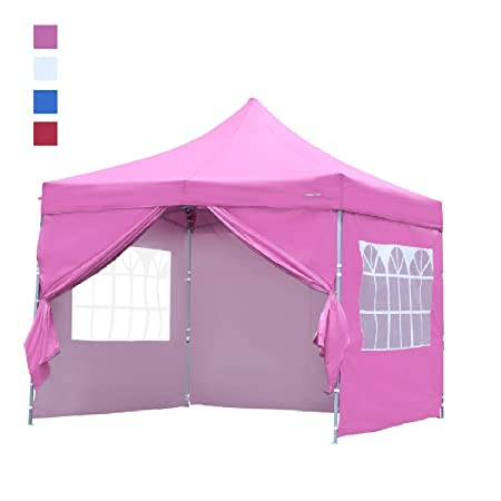 Leisurelife Heavy Duty 10 x10 Pop Up Canopy Tent with Sidewalls – Pink Outdoor Folding Commercial Gazebo Party Tent