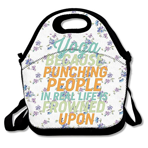 Ojinwangji Funny Yoga Self Meditation Quote Lunch Bag Thermal Bags Outdoor Picnic Meal Package For Boys Girls Women Kids
