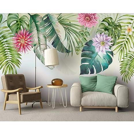 Amazon Com Dalxsh Fresh Green Leaves Watercolor 3d Wallpaper Mural