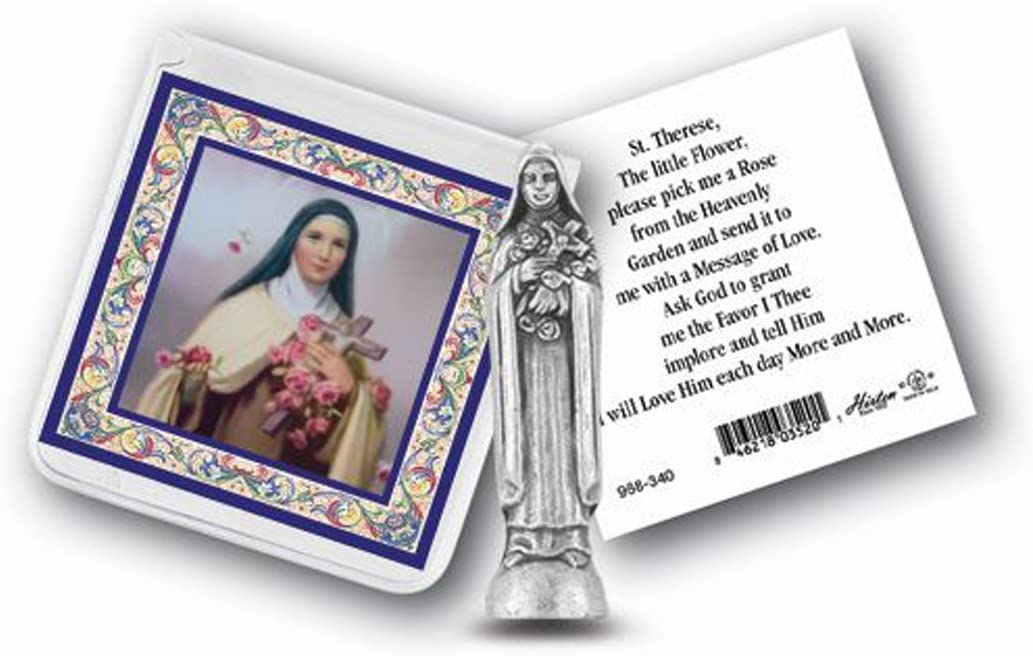 Religious Gifts St Therese Mini Saint Gift Set Tiny 1 Inch Long Statue & Prayer Card