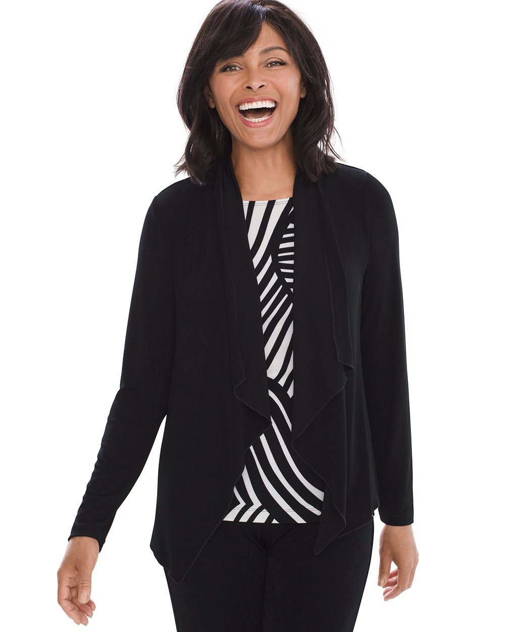 Chico's Women's Travelers Classic Easy Drape Jacket Size 8/10 M (1) Black by Chico's (Image #1)