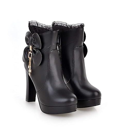 Botines Cortos de tacón Alto con Plataforma y tacón Alto para Mujer, Negro, 33