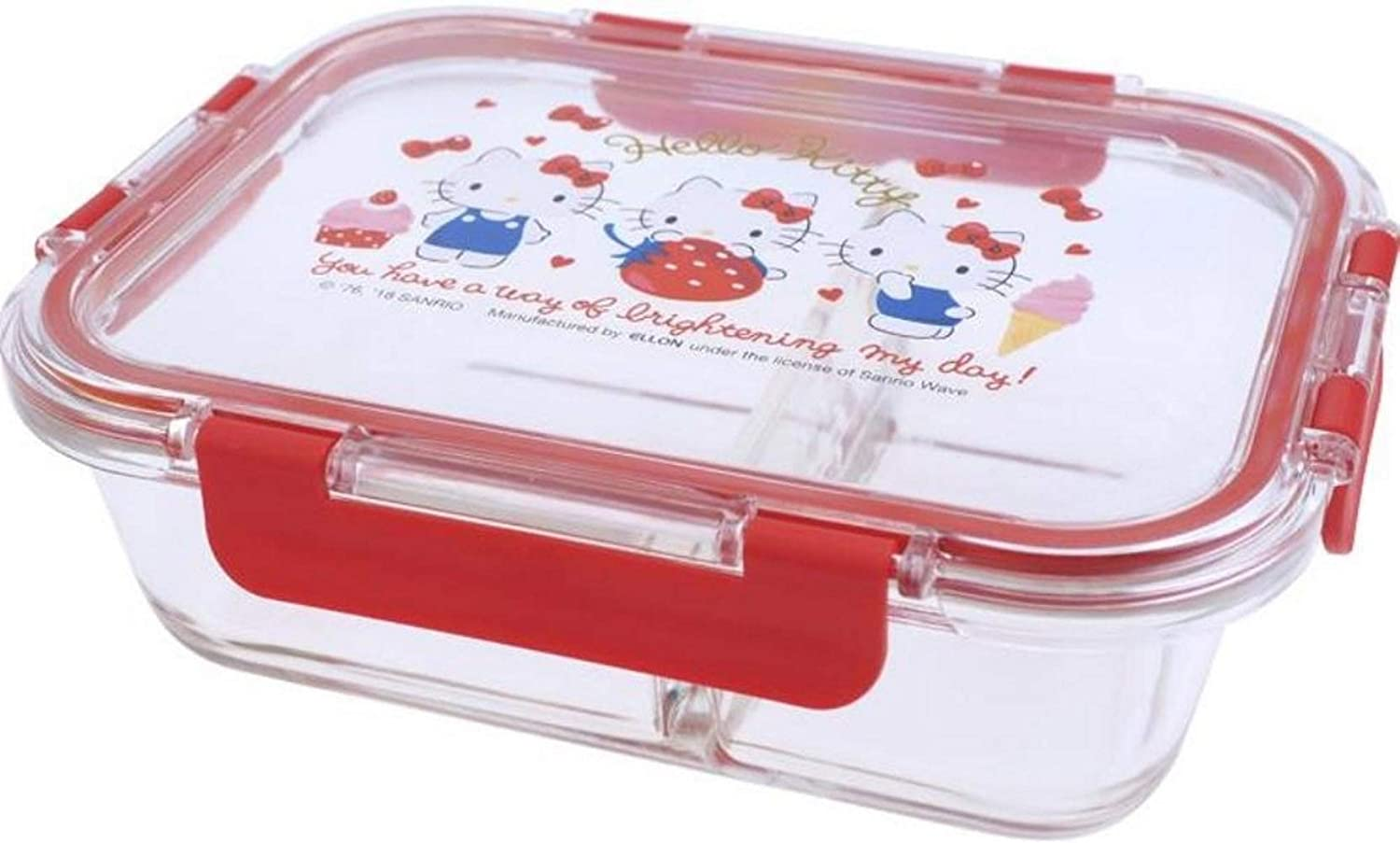 Hello Kitty Premium LEAD FREE Glass Meal Prep Container Seal Lunch Box with Compartment Microwave Oven Freezer Dishwasher Safe 1040ml