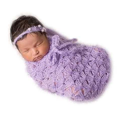 Hecho a mano bebé recién nacido bebé niña niño de ganchillo saco de dormir fotografía Props