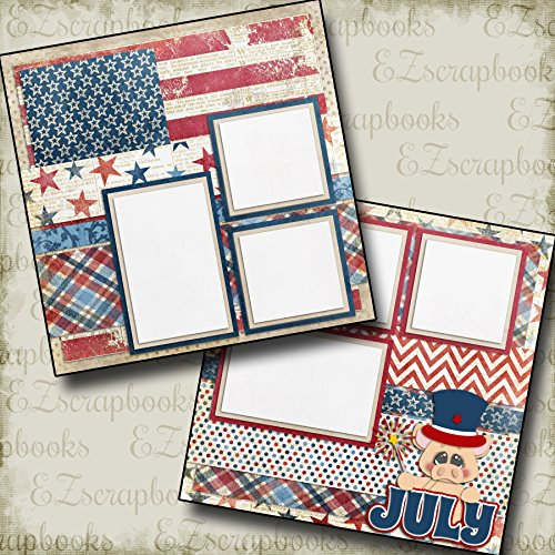 JULY - Premade Scrapbook Pages - EZ Layout 362 -