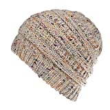 Opromo (Price/48 PCS) Soft Stretch Cable Knit Messy High Bun Ponytail Beanie Hat
