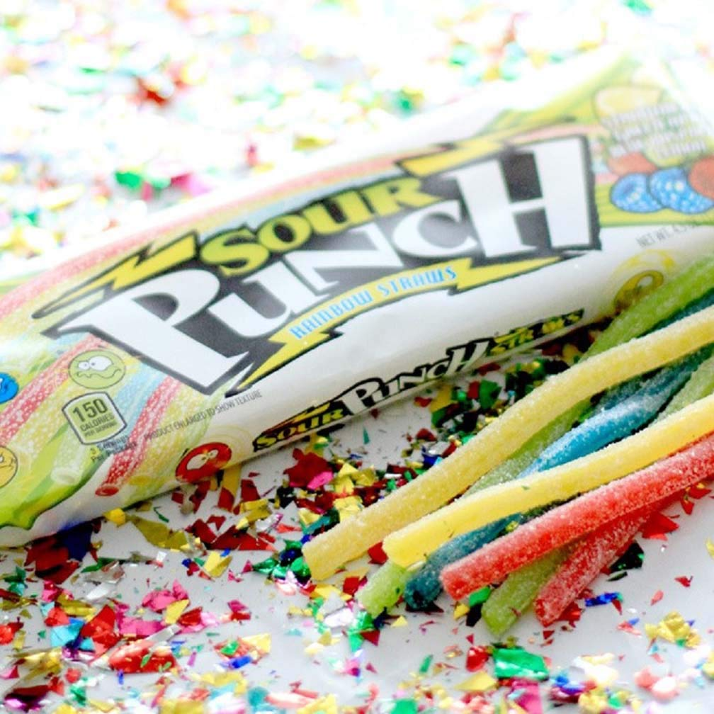 Sour Punch Straws, 4 Rainbow Fruit Flavors, Chewy Sweet & Sour Candy, 4.5oz Tray (24 Pack) by Sour Punch (Image #6)