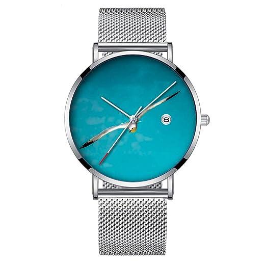 Reloj de Pulsera Minimalista de Cuarzo, ultradelgado, Resistente al Agua, con Fecha con Correa de Malla 169.Seagull Reloj de Mano por Loredana: Amazon.es: ...