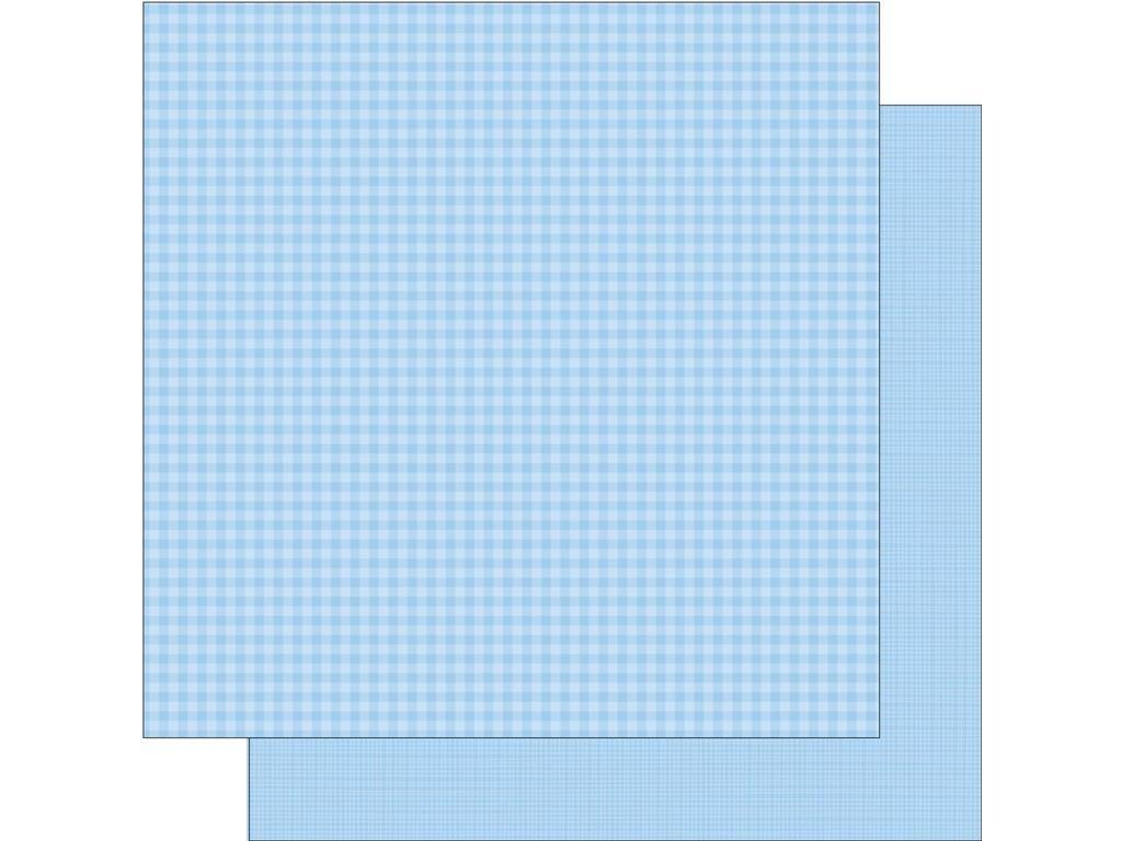 DOODLEBUG Ging LinenBubbleBl Paper 12x12 Gingham Linen Bubble Blue