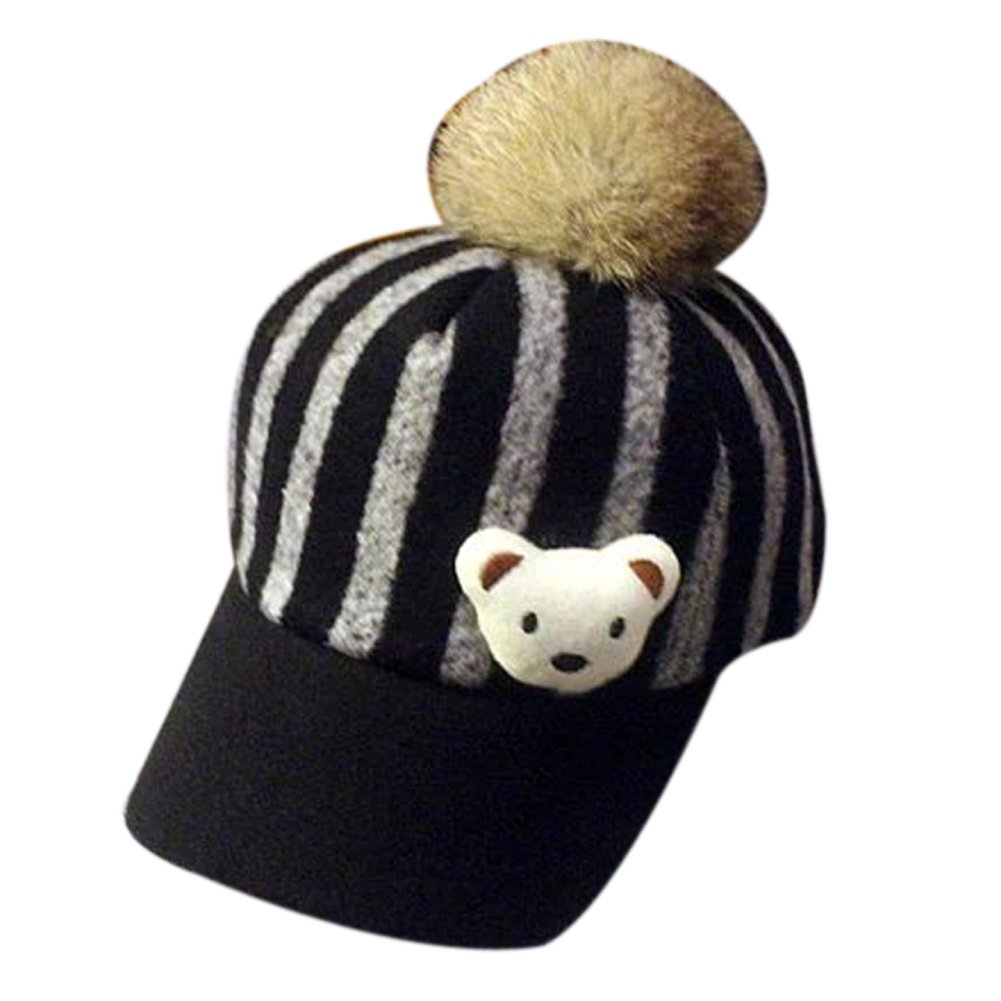 Difly Kids Toddler Cartoon Bear Stripes Fedoras Breathable Outdoor Warm Peaked Baseball Cap