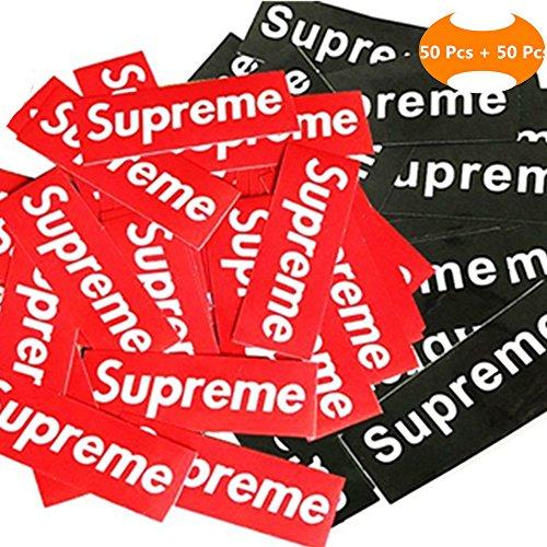 100 Pieces Supreme Stickers Waterproof and Oil Proof Supreme Sticker, Backpack, Car, Supreme Skateboarding, Laptop, Custom Sticker DIY (Red+Black) - Custom Skate