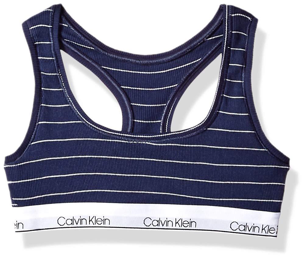 Calvin Klein Little Girls' Modern Cotton Bralette, Rib-CK Navy Stripe