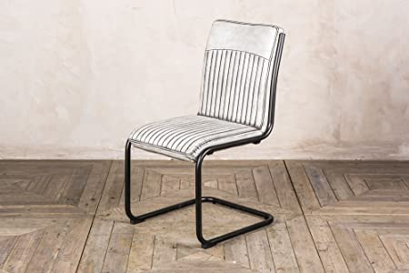 Peppermill Interiors RETRO STYLE UPHOLSTERED DINING CHAIR LEATHER LOOK  COLOURFUL CHAIRS (Vintage White)
