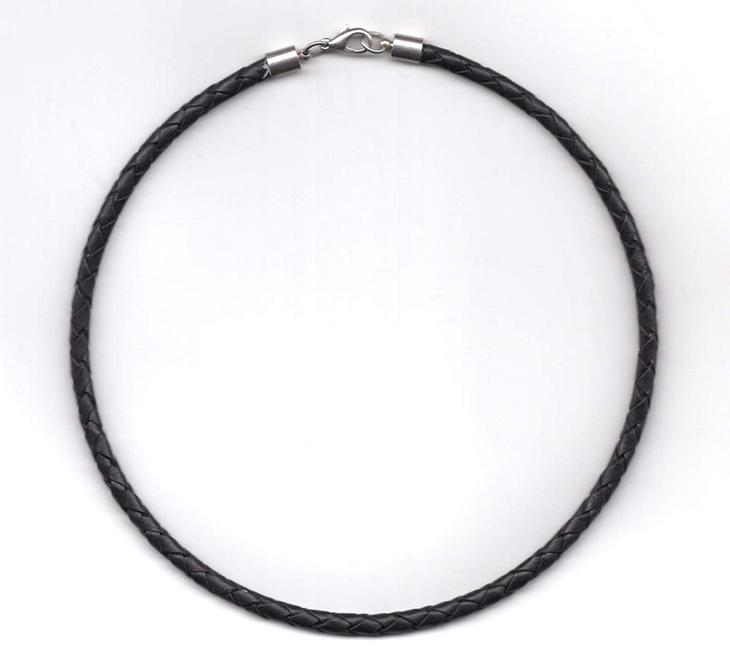 19 5 mm Black Braided Leather Cord Necklace for Men Women Silver Plaited End Caps-by Greek Crafts Silver Plaited End Caps