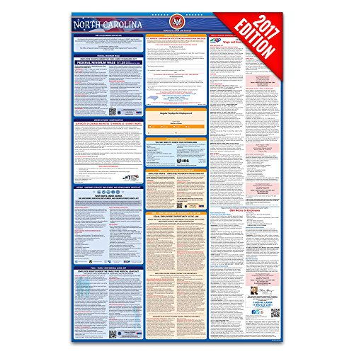 2017 North Carolina Labor Law Poster – State & Federal Compliant – Laminated