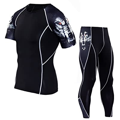 1Bests Men's 2 Pieces Sports Fitness Camouflage Tight Set Running Quick-drying Breathable Compression T-Shirts + Pants